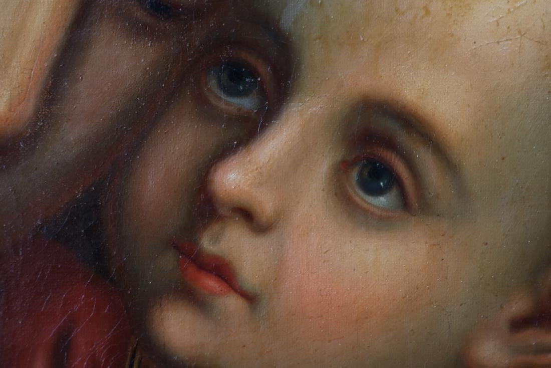 Antique Oil on Canvas, Holy Mother & Child - 9