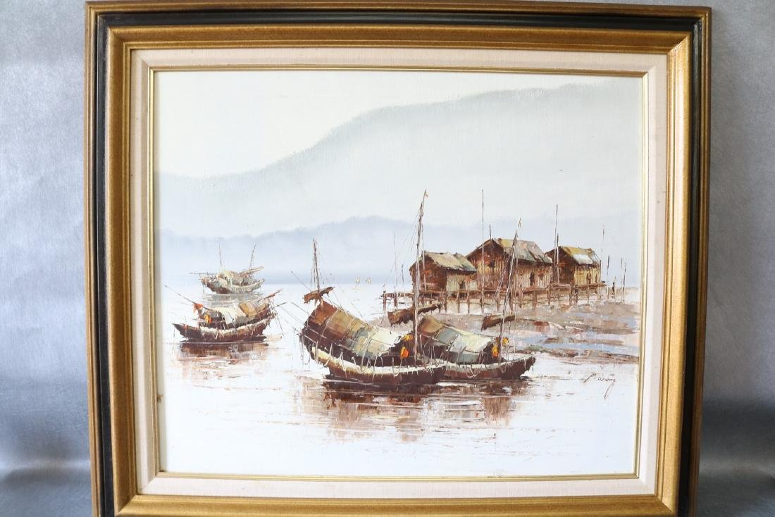 P. Wong, Oil on Canvas, Asian Seascape