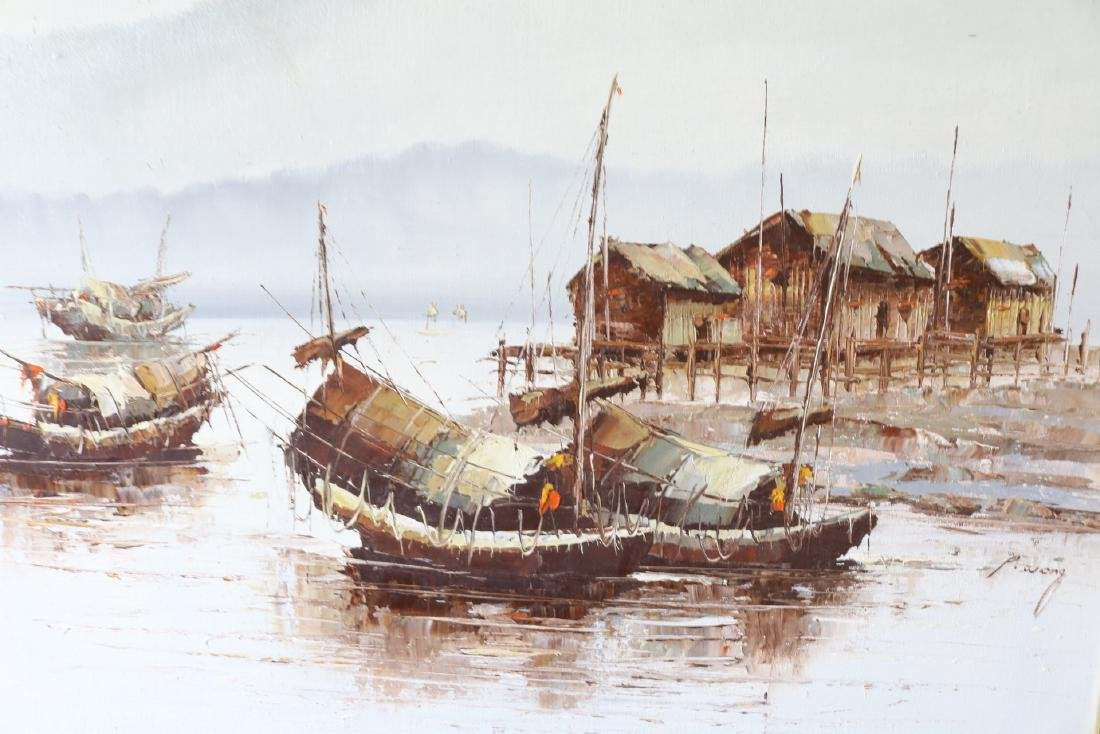 P. Wong, Oil on Canvas, Asian Seascape - 2