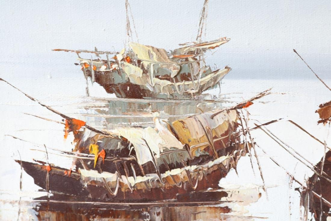 P. Wong, Oil on Canvas, Asian Seascape - 4