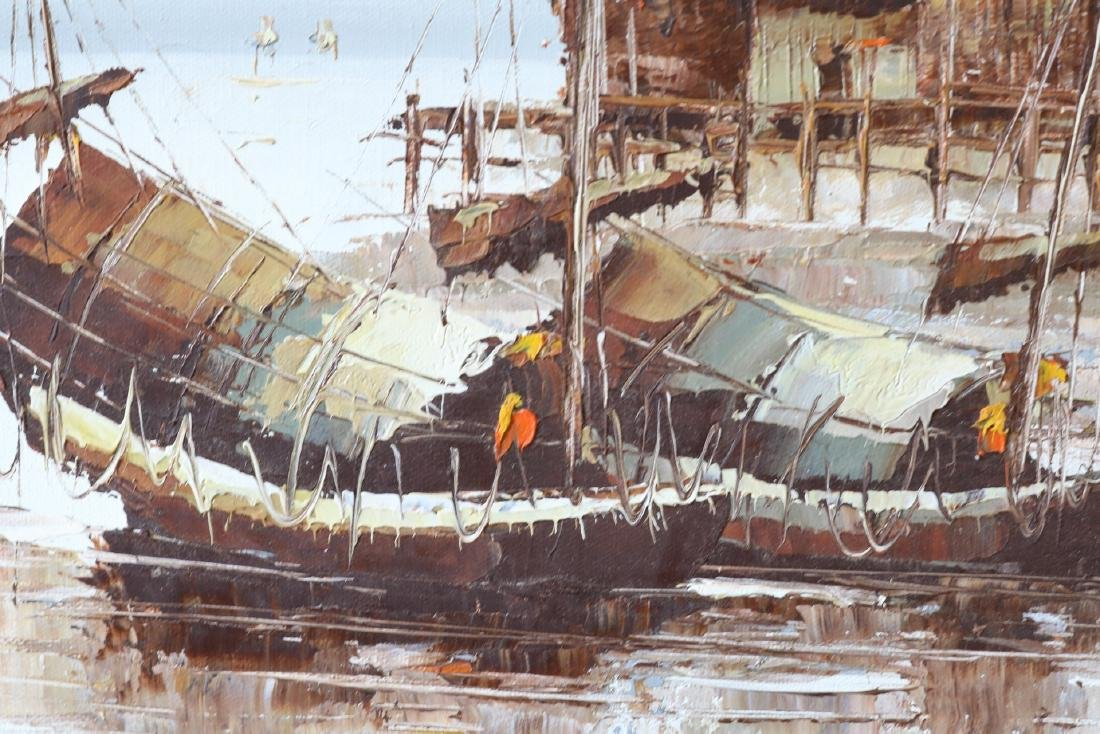 P. Wong, Oil on Canvas, Asian Seascape - 5
