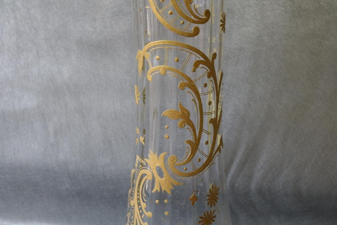 Large Victorian Hand Painted Enamel Clear Glass Vase - 2
