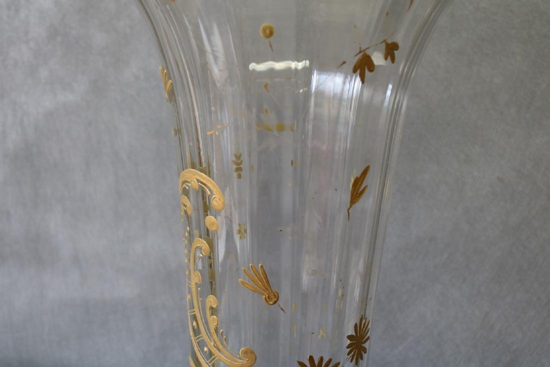 Large Victorian Hand Painted Enamel Clear Glass Vase - 7
