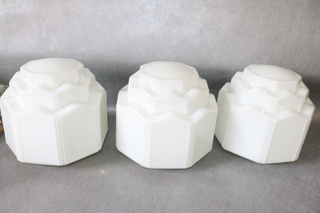 Lot of 3 White Art Deco Light Globes