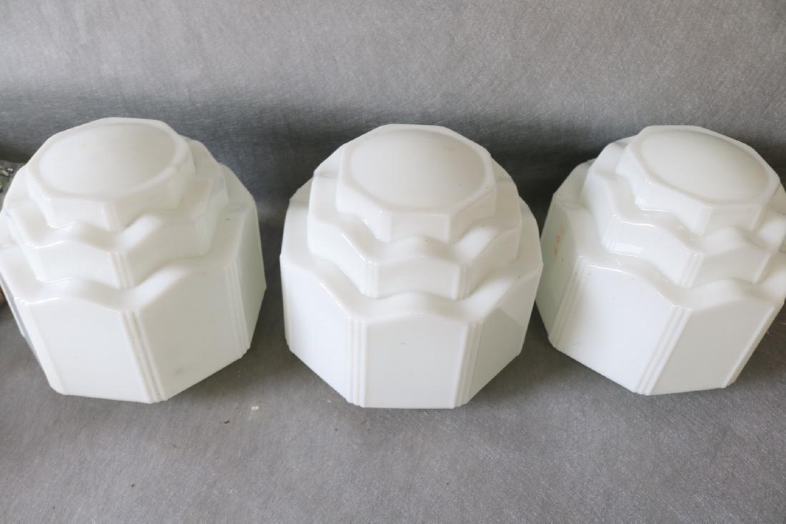 Lot of 3 White Art Deco Light Globes - 2