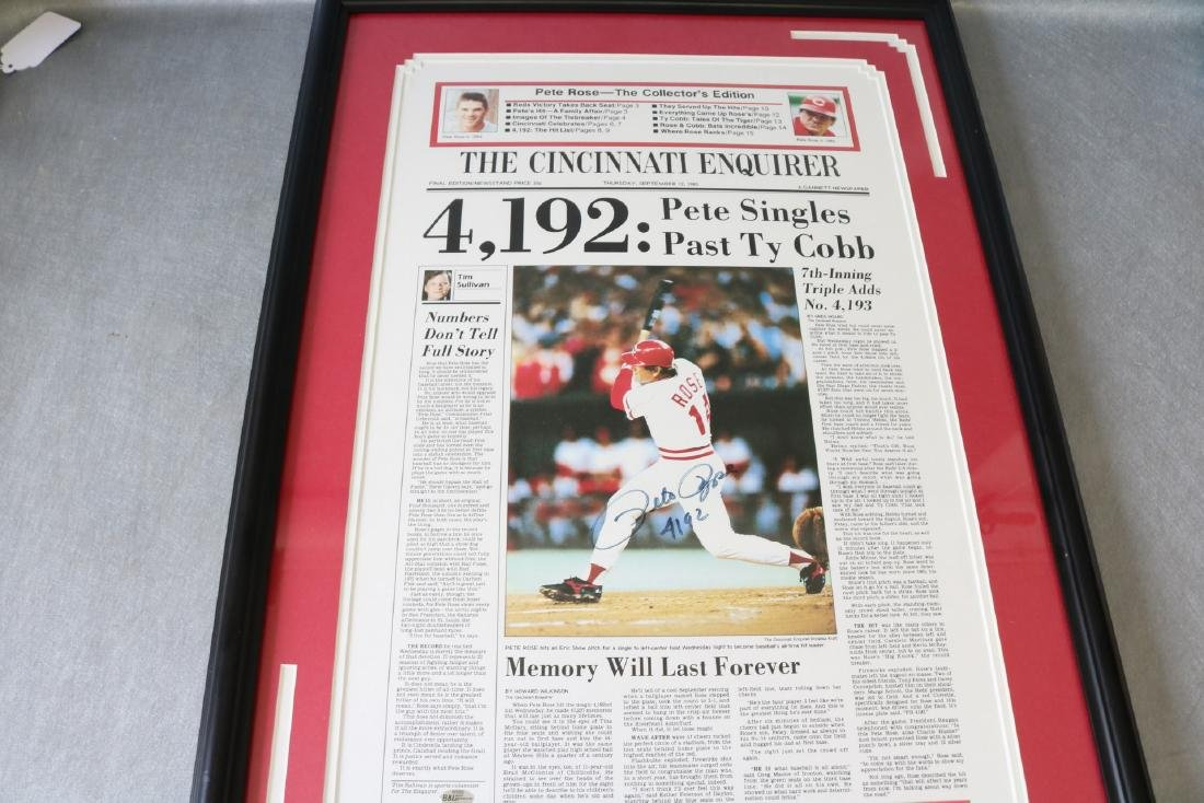 1985 Pete Rose Newspaper article with Autograph