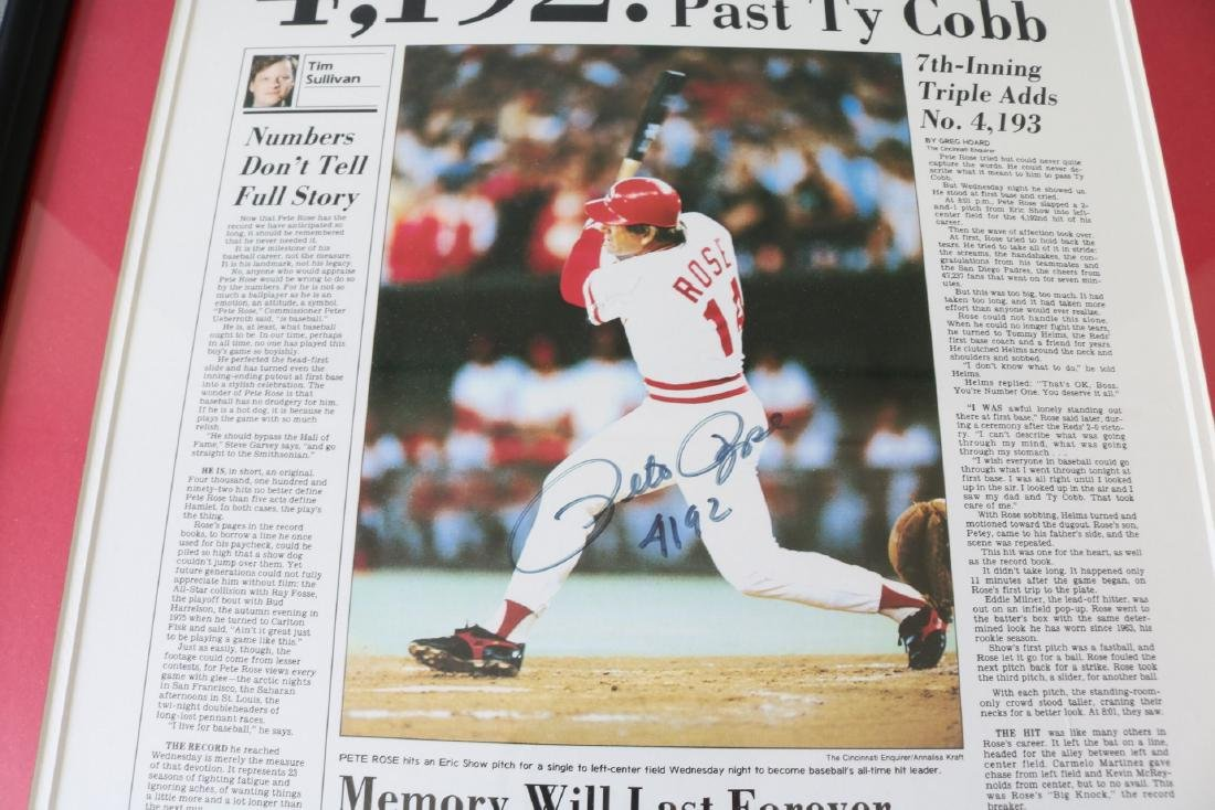 1985 Pete Rose Newspaper article with Autograph - 3