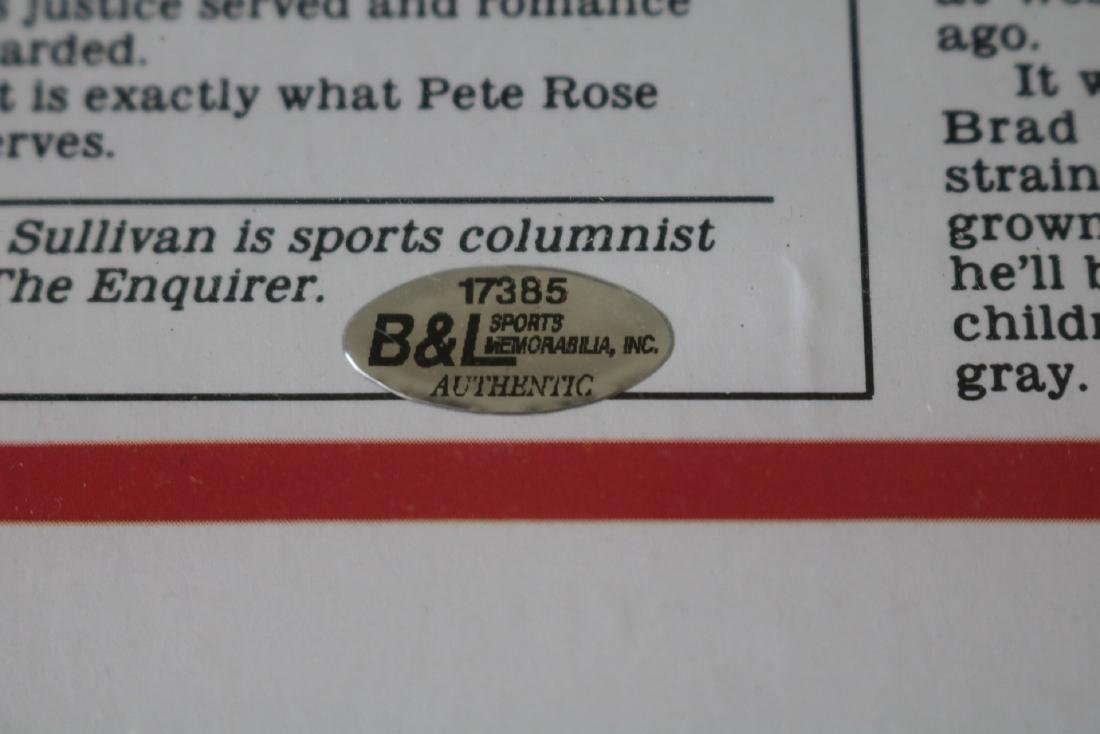 1985 Pete Rose Newspaper article with Autograph - 5