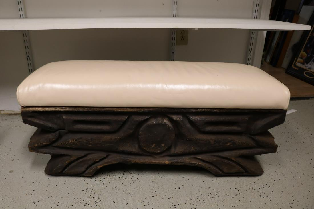 Hand Carved Vintage Teak Bench with Leather Top
