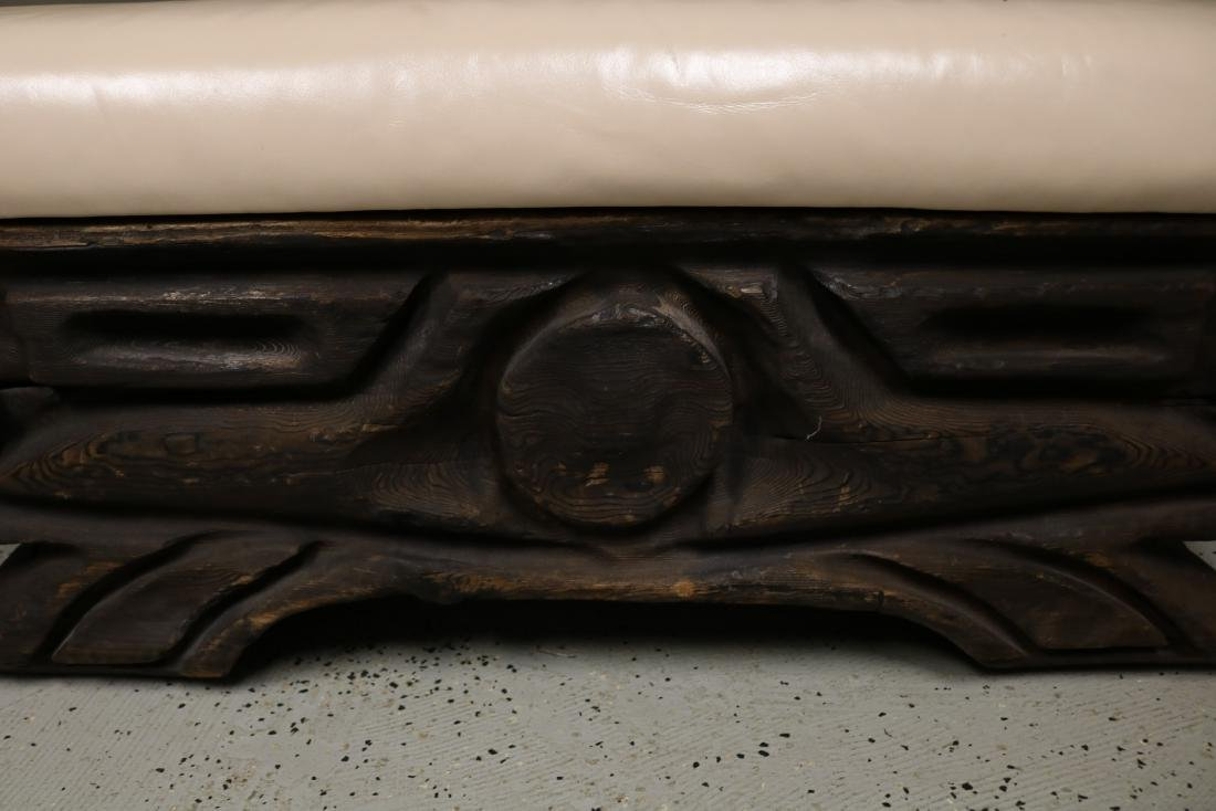 Hand Carved Vintage Teak Bench with Leather Top - 2