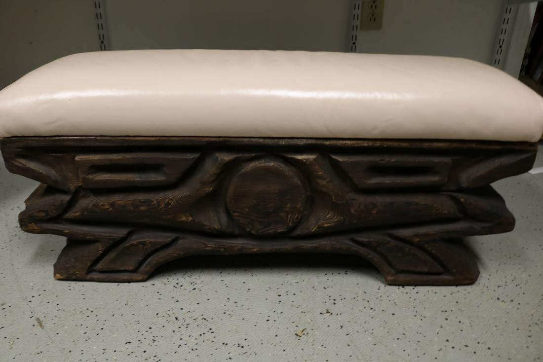 Hand Carved Vintage Teak Bench with Leather Top - 4