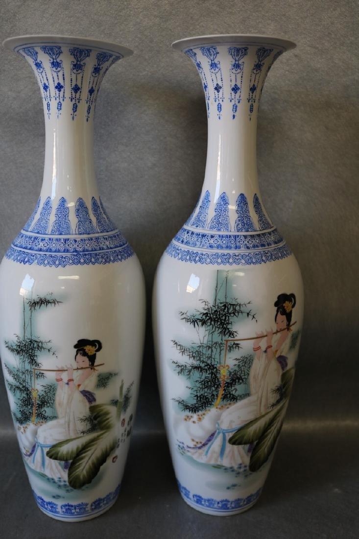 Pair Large Asian Eggshell Porcelain Vases