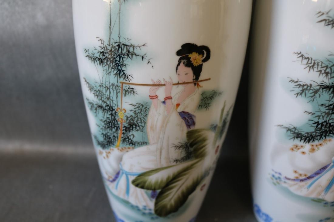 Pair Large Asian Eggshell Porcelain Vases - 2