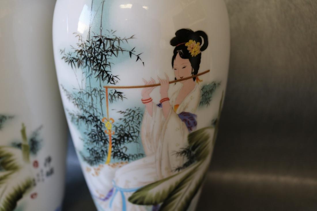 Pair Large Asian Eggshell Porcelain Vases - 3