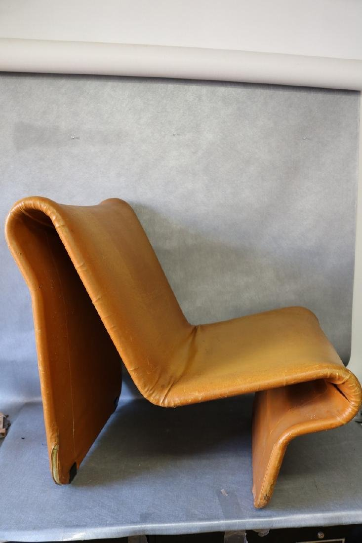 Mid-Century Funky Leather Curved Chair