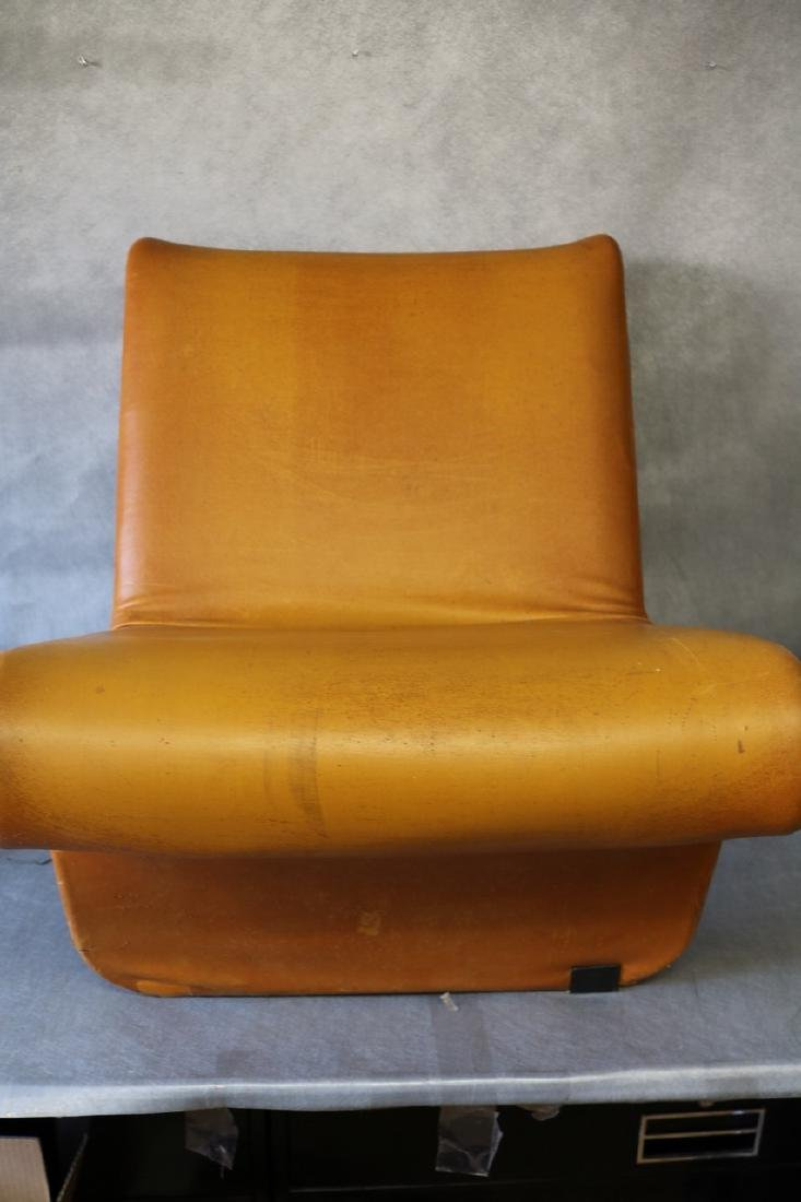 Mid-Century Funky Leather Curved Chair - 5