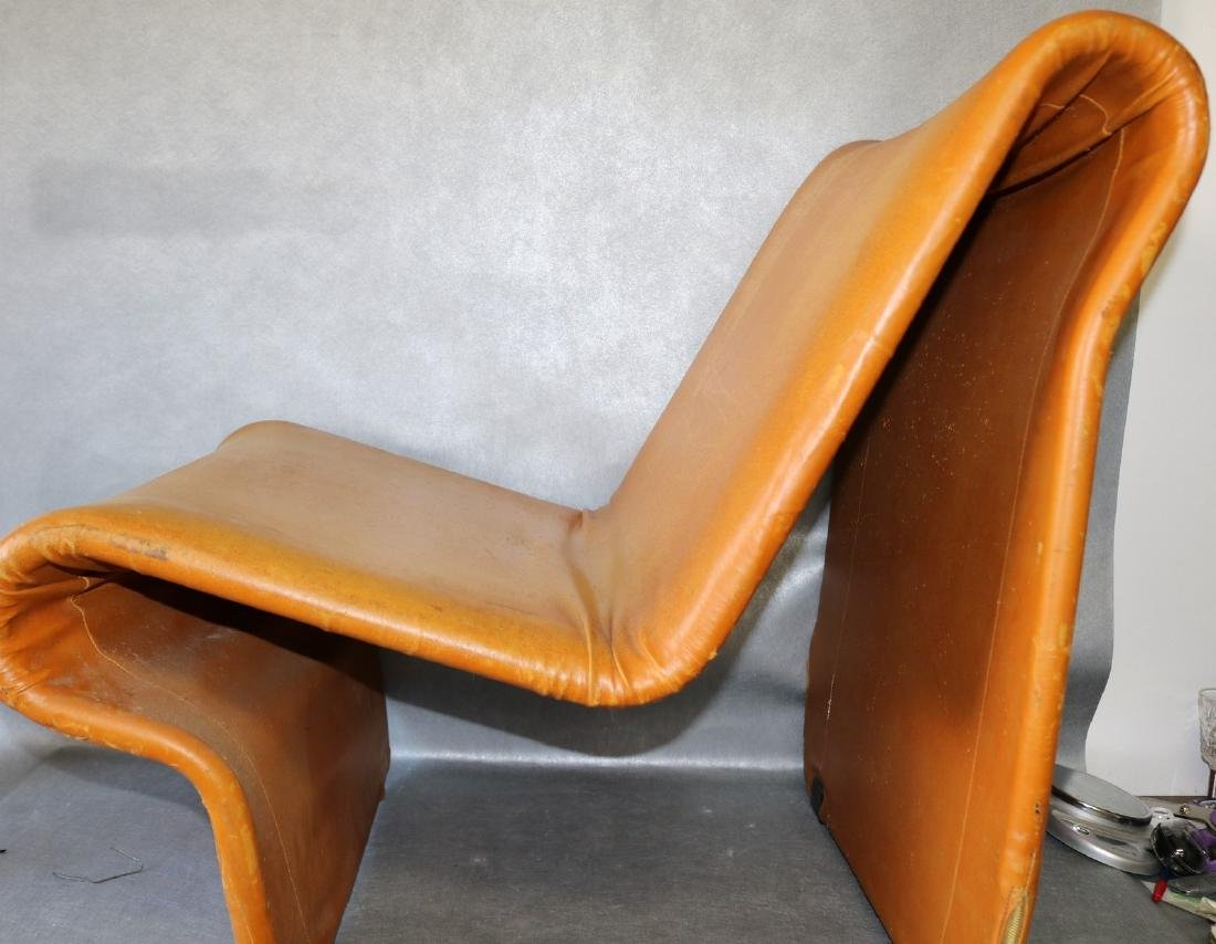 Mid-Century Funky Leather Curved Chair - 7