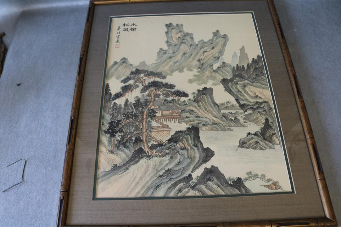 Asian Wood Block Print on Silk, Signed & Stamp