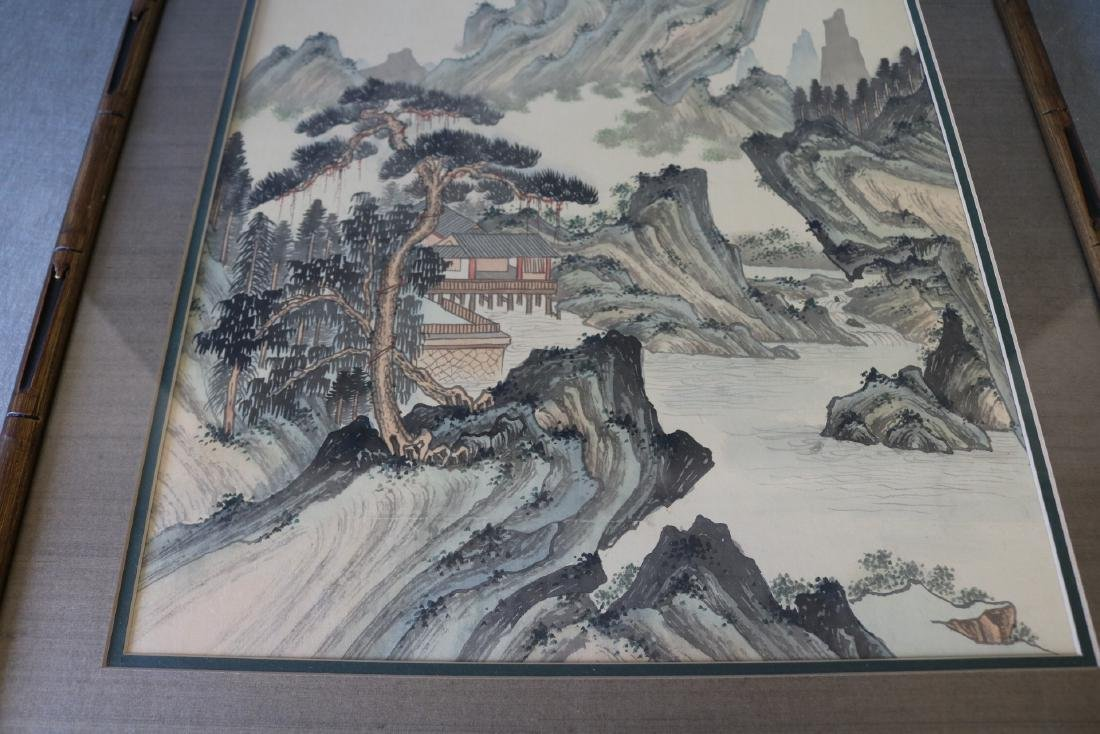 Asian Wood Block Print on Silk, Signed & Stamp - 2