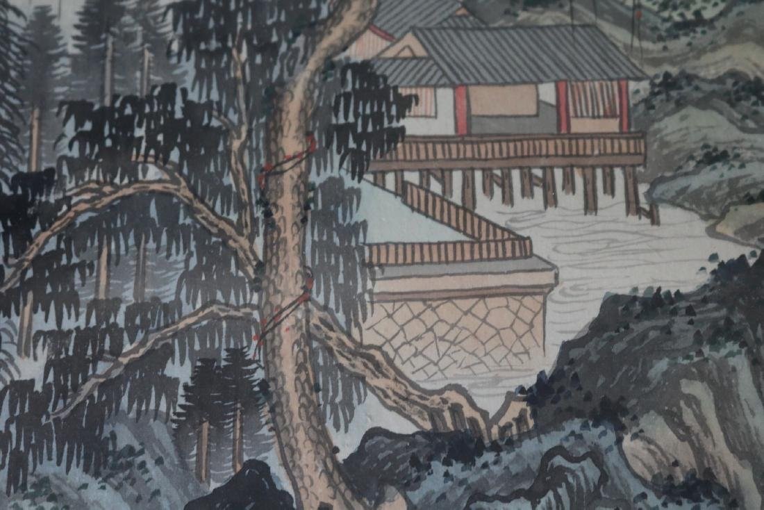 Asian Wood Block Print on Silk, Signed & Stamp - 3