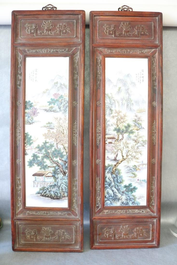 2 Large Asian Carved Wood & Ceramic Tile Panels,