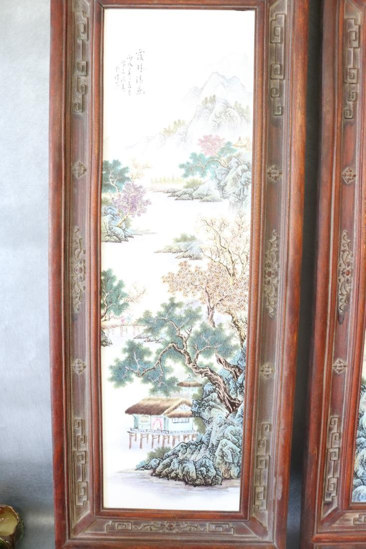 2 Large Asian Carved Wood & Ceramic Tile Panels, - 2