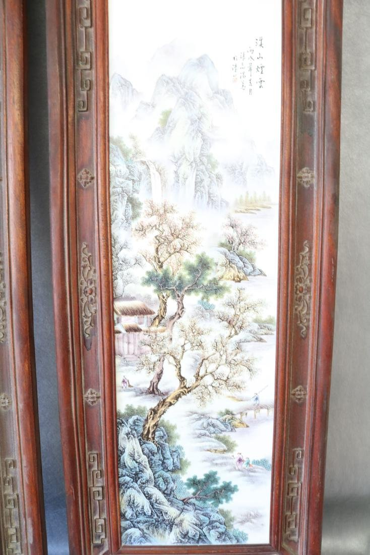 2 Large Asian Carved Wood & Ceramic Tile Panels, - 3