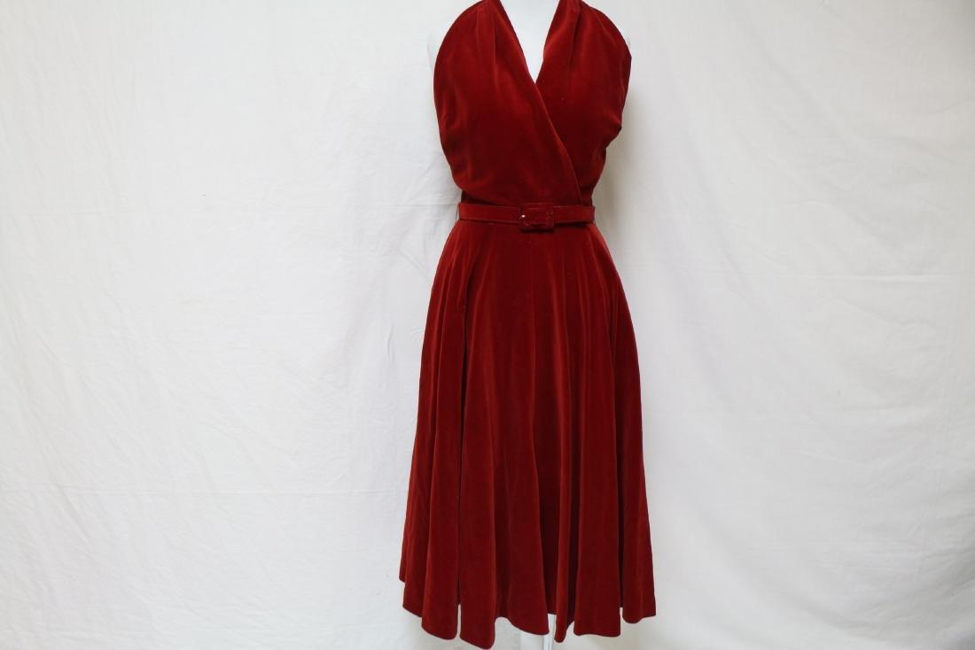 Vintage Red Velvet Halter Dress