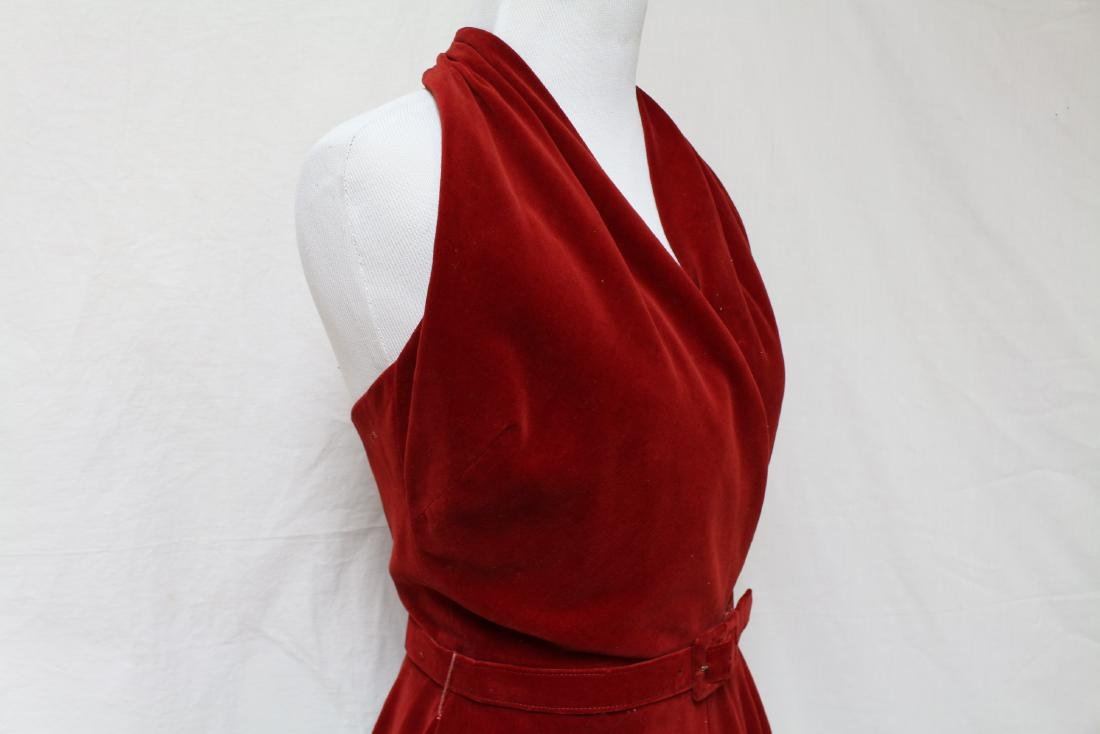 Vintage Red Velvet Halter Dress - 2