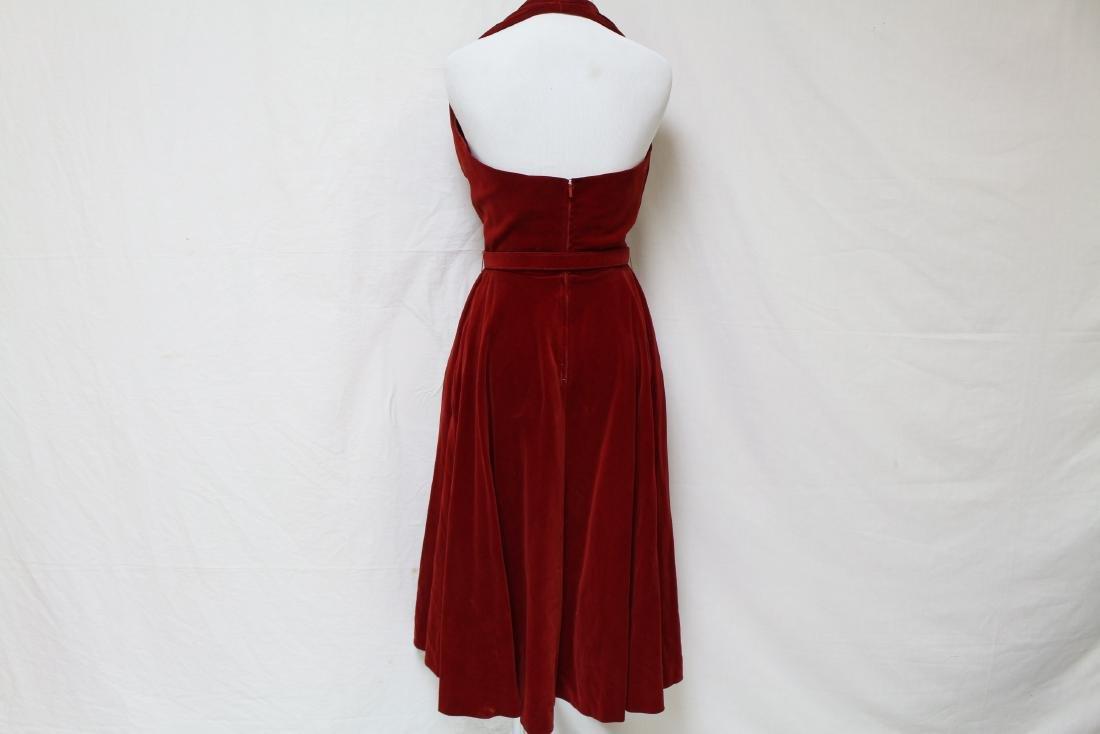Vintage Red Velvet Halter Dress - 3