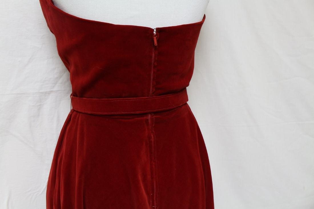 Vintage Red Velvet Halter Dress - 4