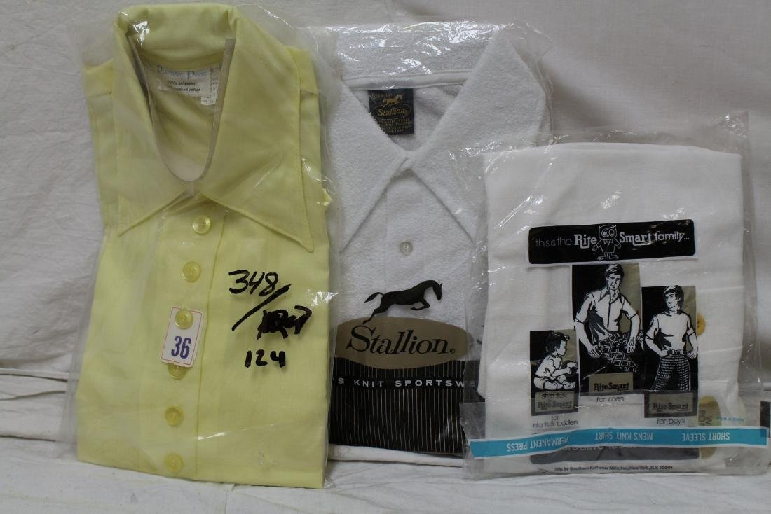 Vintage Lot of 3 1970's Men's Shirts, New Old Stock