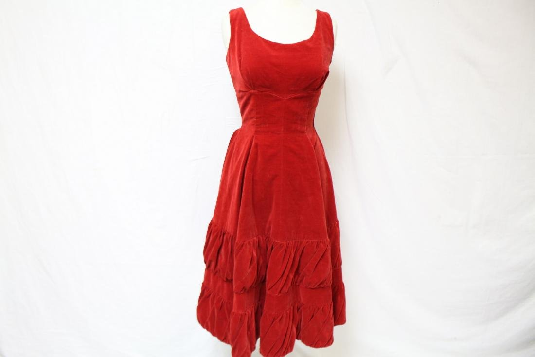 Vintage 1950's Red Velvet Party Dress