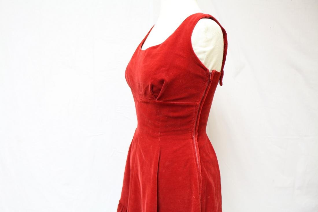 Vintage 1950's Red Velvet Party Dress - 4