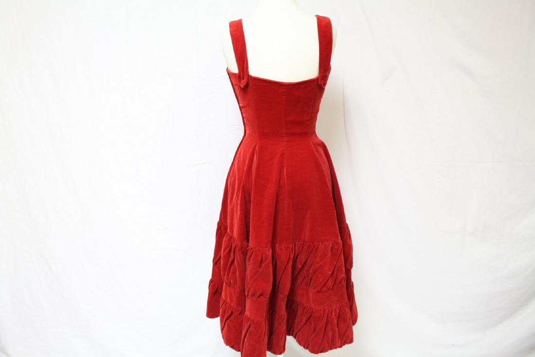 Vintage 1950's Red Velvet Party Dress - 5