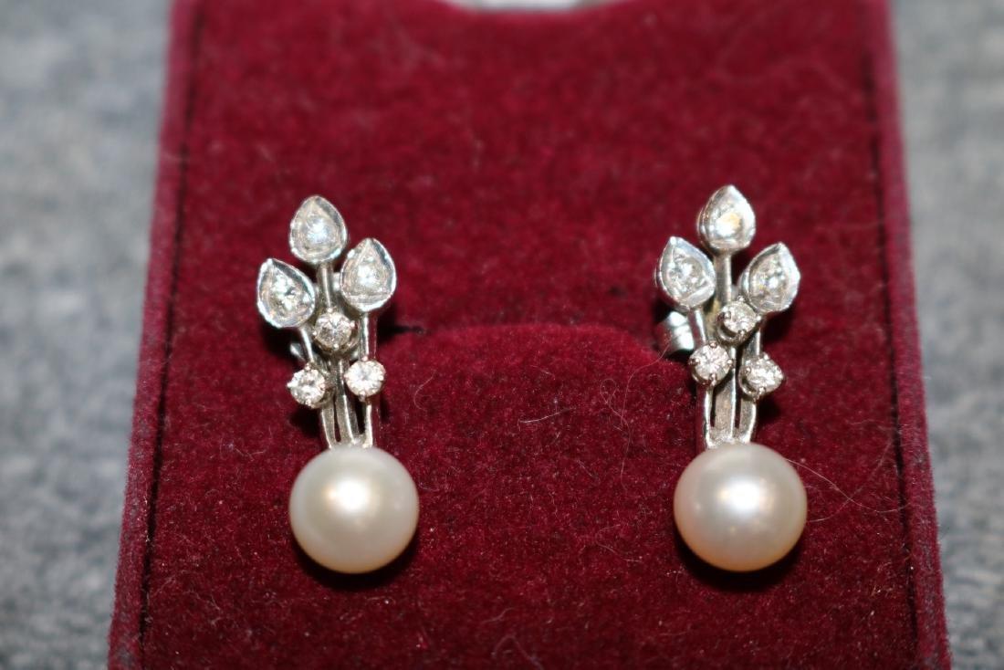 Vintage 14K Pearl & Diamond Pierced Earrings