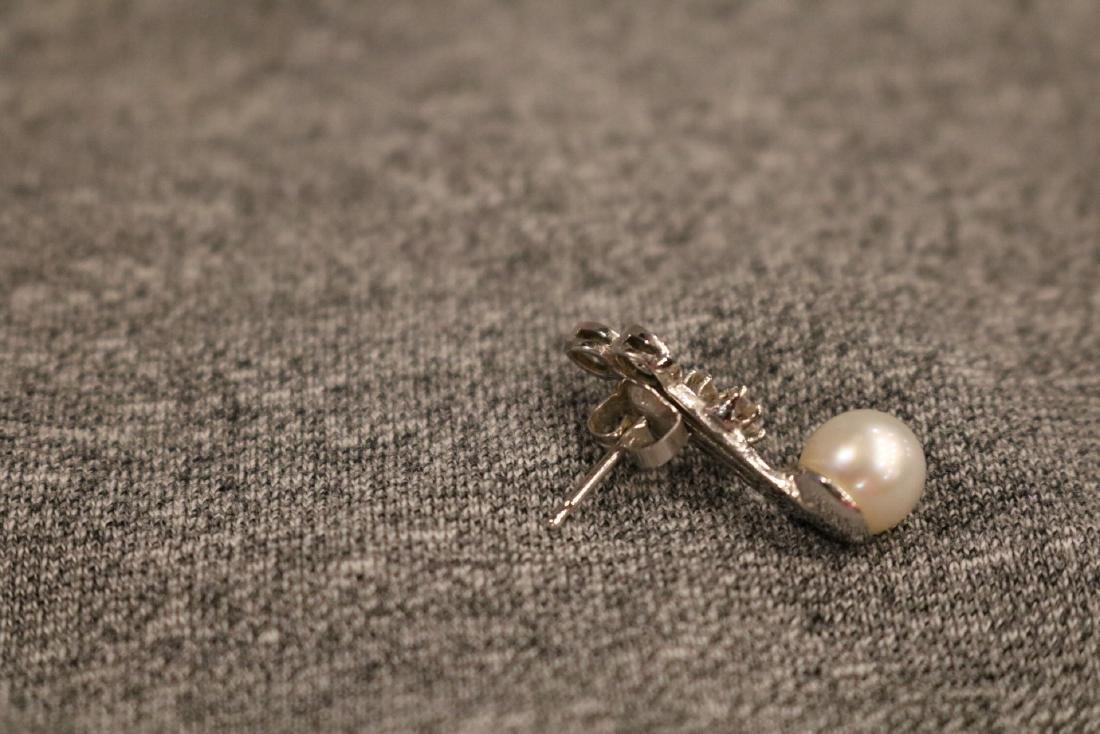 Vintage 14K Pearl & Diamond Pierced Earrings - 2