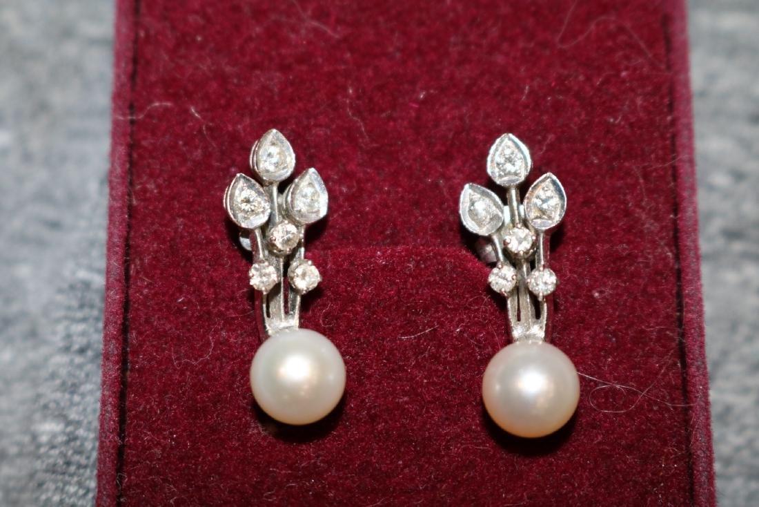 Vintage 14K Pearl & Diamond Pierced Earrings - 3