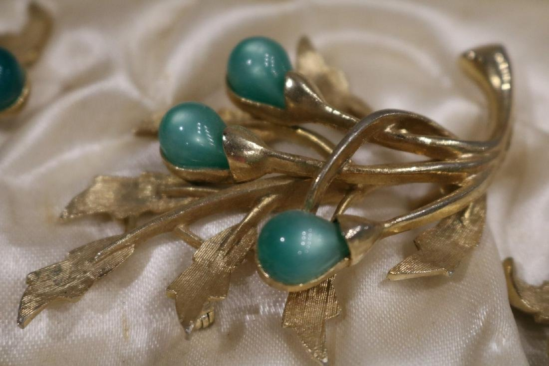 Vintage Caroline Emmons 3 piece brooch & earring set - 2