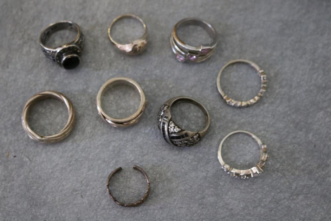 Vintage Lot of Nine Sterling Rings