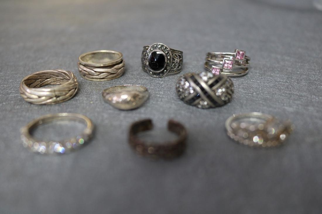Vintage Lot of Nine Sterling Rings - 2