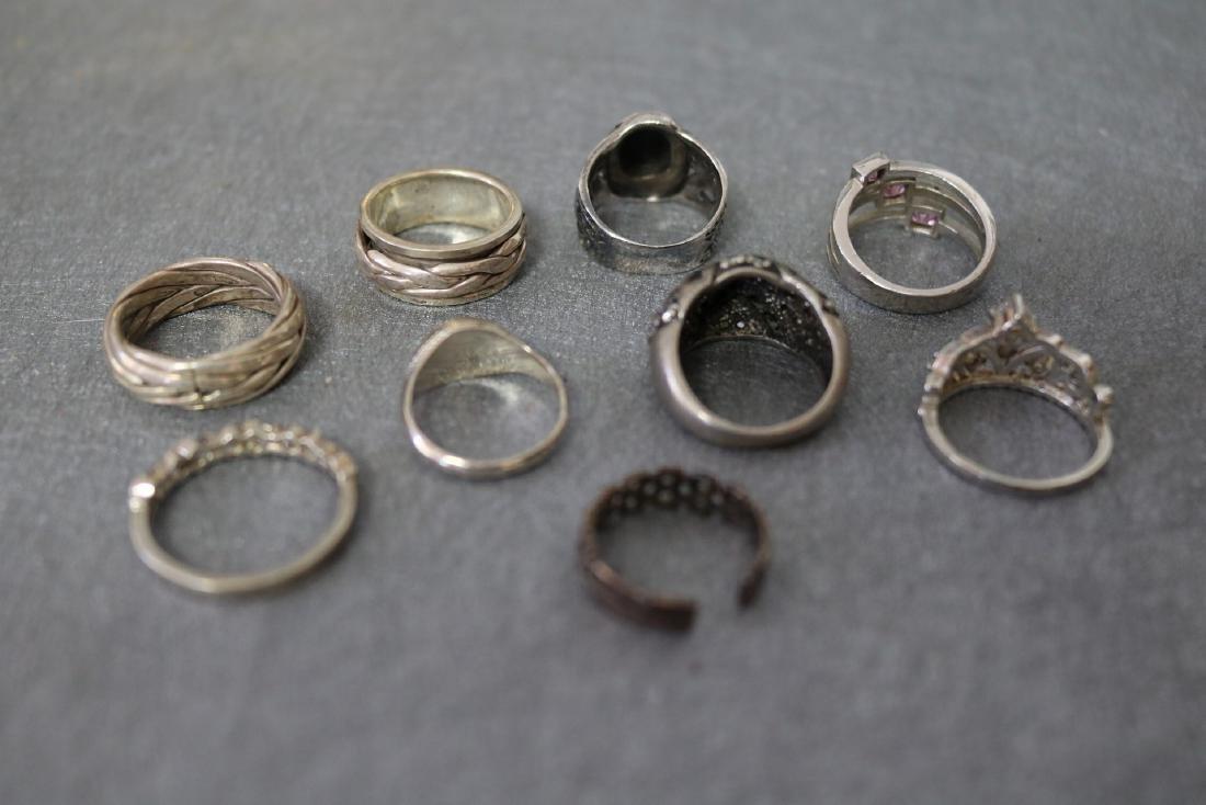 Vintage Lot of Nine Sterling Rings - 3