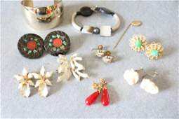 Vintage Lot of 10, Bracelets, Earrings and Stick Pin,