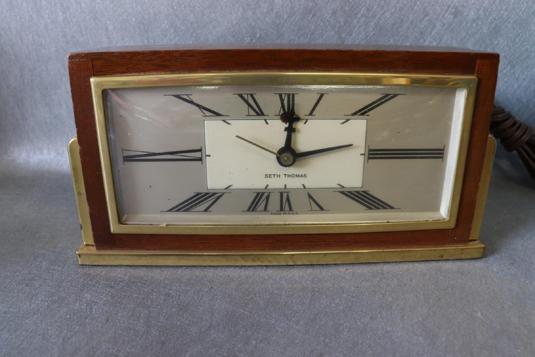 Vintage Wood Brass Seth Thomas Electric Clock