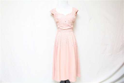 0cb0b535e9c Vintage 1950 s Pink Linen Fit   Flare Dress