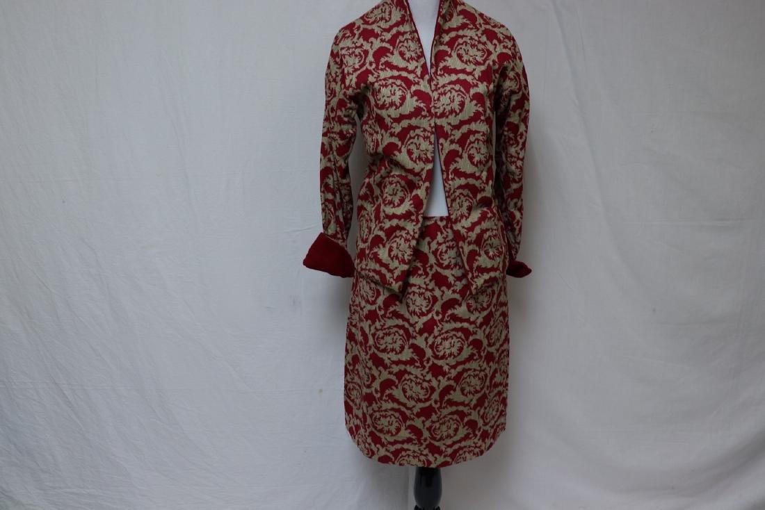 Vintage Maroon Jacket & Skirt Set, Wool Accents