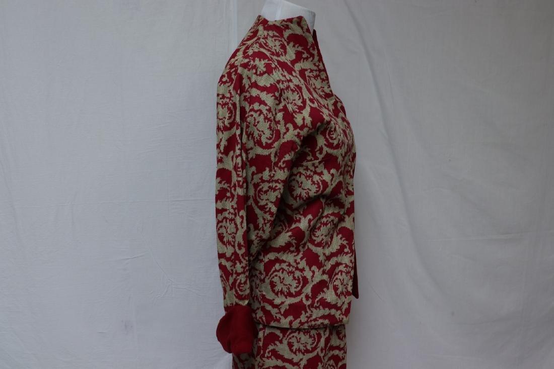 Vintage Maroon Jacket & Skirt Set, Wool Accents - 2
