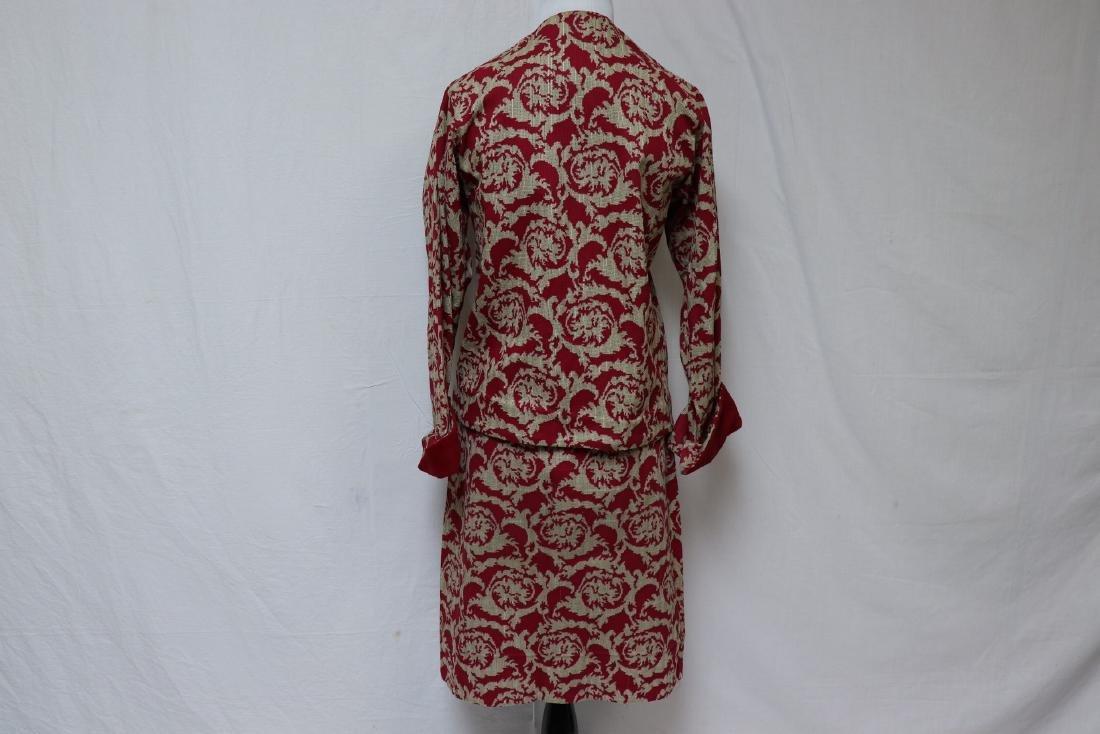 Vintage Maroon Jacket & Skirt Set, Wool Accents - 3