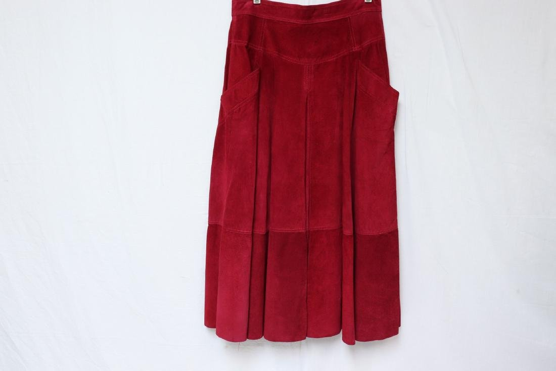 Vintage Cherry Red Suede Skirt
