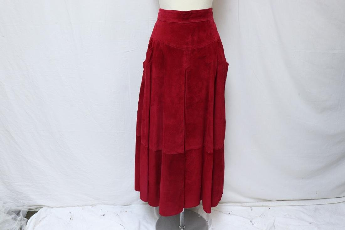 Vintage Cherry Red Suede Skirt - 2